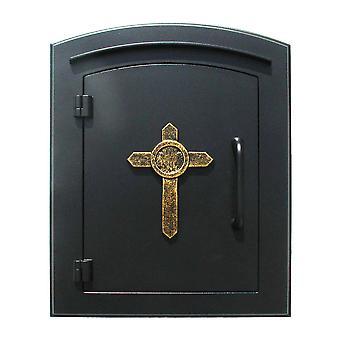 "Manchester No-Locking Column Mount Mailbox With ""Decorative Cross Logo"" In Black"