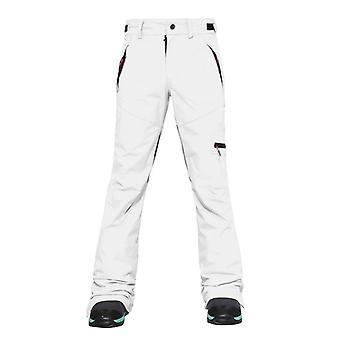 女性の暖かいスキーパンツ、ダブルスノープロテクションレッグ、開く厚い冬のズボン