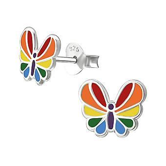 Children's Sterling Silver Colourful Butterfly Stud Earrings