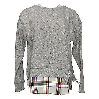 IZOD Women's Tie-Front 2-Fer Sweatshirt Long Sleeve Gray