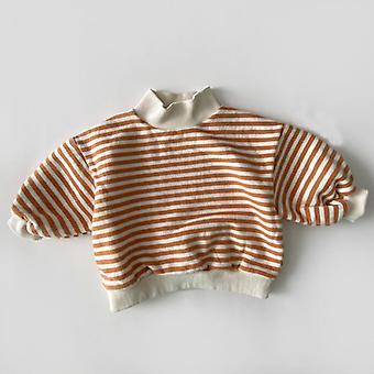 Bebek Çizgili Sweatshirt, Sonbahar Kış Kalınlaştırıcı Sıcak Yüksek Boyunlu Kapüşonlu Üstler