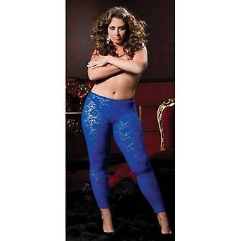 Plus Size Stretch Floral Lace Leggings With Elastic Waistband