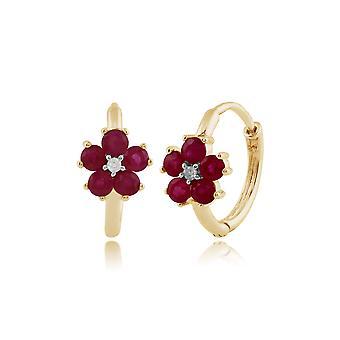 Floral Runde Rubin & Diamant Creolen in 9ct Gelbgold 135E1207029