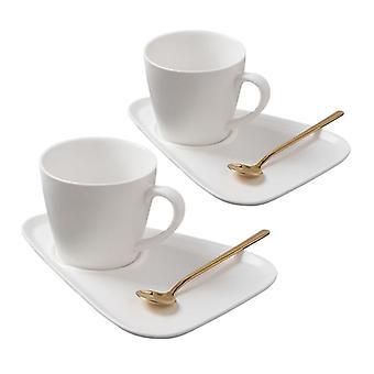 Set of 2x Mugs, Barrels and Teaspoons - White