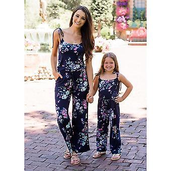 طباعة الأزهار بلا أكمام، مطابقة jumpsuit للأم وابنتها