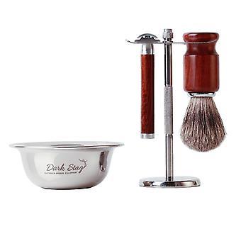 Dark Stag Barber Shaving Set Razor Bowl & Brush