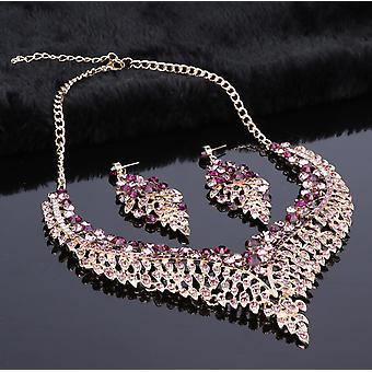 Leaf Bridal Jewelry Sets, Big Crystal Statement Necklace, Earrings Sets,