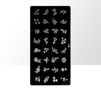 Stämpelplatta - Nageldekorationer - B11 - Rektangel