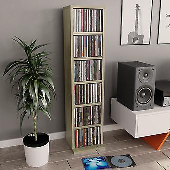 vidaXL armoire cd sonoma-chêne 21x20x88 cm panneau de particules