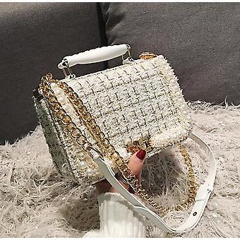 New Female Square Tote Bag, Quality Woolen Handbag