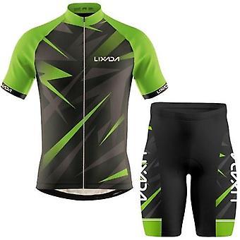 男性サイクリングジャージー通気性半袖自転車シャツとパッド入りのショートパンツMTB自転車衣類スーツ