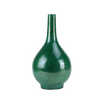 High temperature fired green and yellow water drop shape ceramic flower vases