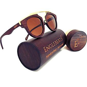 Cherry Wood Full Frame, Polarized With Gold Trim And Bamboo Case