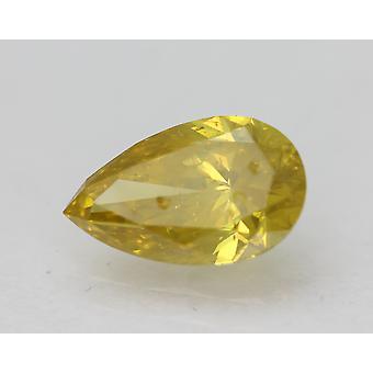 Cert 1.05 Carat Fancy Vivid Yellow VS2 Pear Enhanced Natural Diamond 8.91x5.48mm