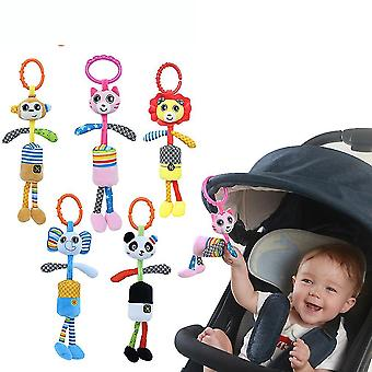 5pcs Cartoon Animals Rattle Toys With Chimes Plush Baby Hanging Toys Colorful Rattling Doll For Infant
