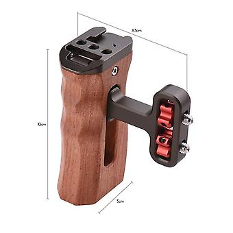Universal camera cage left/right side handle wooden hand grip with 1/4 screw hole cold shoe mount for camera cage