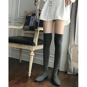 Women Slim Elastic Knitted Thigh High Boots
