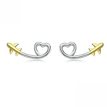 Ear Stubs Heart S925 Platinum Plated Earrings For Daily Use