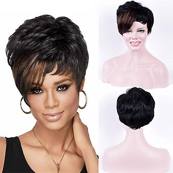 Short synthetic hair mix color natural straight hair wigs for women daily wig with pixie cut bangs high-temperature fiber