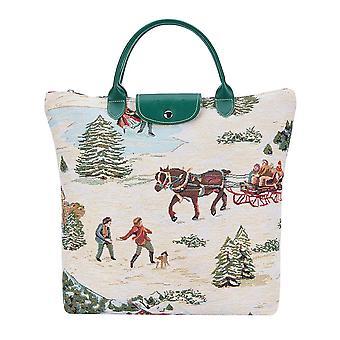 クリスマスそり折りたたみショッピングバッグ|xmas折りたたみトート|fdaw-xmas-そり