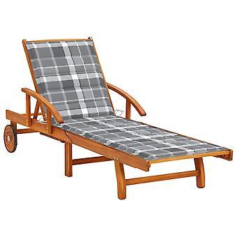 lettino vidaXL con cuscinetto in legno massello di acacia