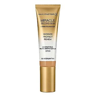 Max Factor Miracle Second Skin Foundation Hydrate Protect Renew SPF20 30ml Medium Tan #08