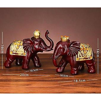 2 Piece set of lucky elephant statue ornaments