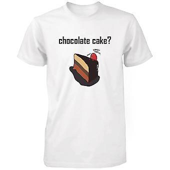 Ciasto czekoladowe z truskawka mężczyzn Ładna koszula graficzny humorystyczny biały Tee Shirt śmieszne