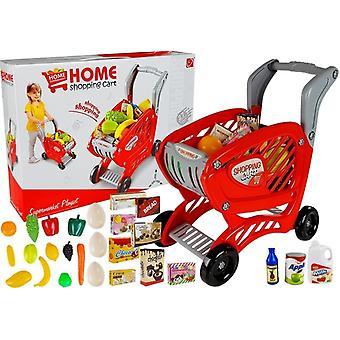 Carrinho de compras de brinquedo - com mantimentos - 42 cm