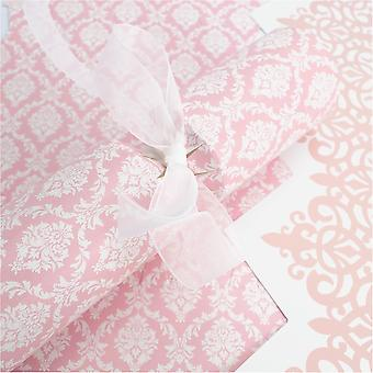 6 Pink Damask Crackers - Make & Fill Your Own Kit without Ribbons