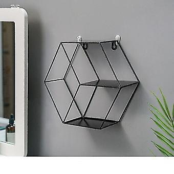 Wall shelves ledges nordic iron grid wall mountable shelves b-black