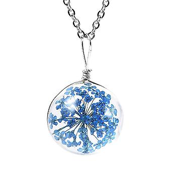 Floral Necklace for Womens Blue Glass Nature Lover Gift in Stainless Steel 1.1ct
