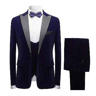 Mile Mens Suits 3 Pieces Slim Fit Wedding Formal Dinner Suits For Men Blazer Blue 1 Button Tuxedo Jacket Trousers Waistcoat