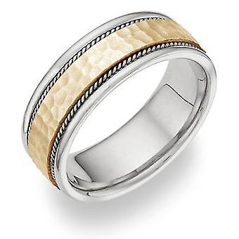 Tweekleurige geborsteld geciseleerde trouwring Ring in 14K goud