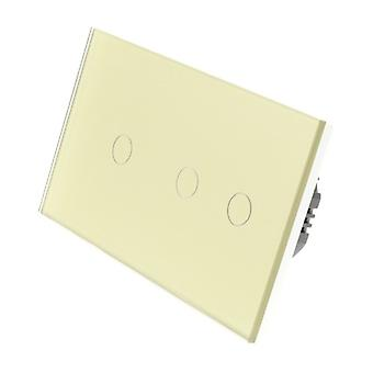 I LumoS Gold Glass Double Panel 3 Gang 1 Way WIFI/4G Remote & Dimmer Touch LED Light Switch