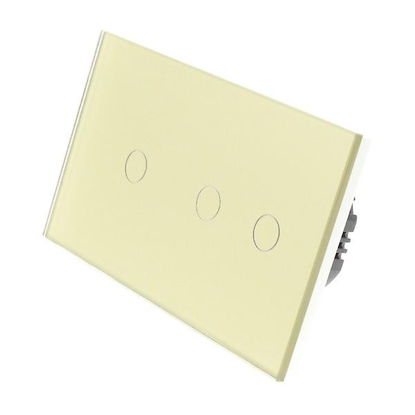 I LumoS Gold Glass Double Panel 3 Gang 1 Way Remote & Dimmer Touch LED Light Switch