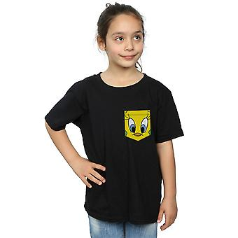 Looney Tunes flickor Tweety Pie Face Faux Pocket T-Shirt