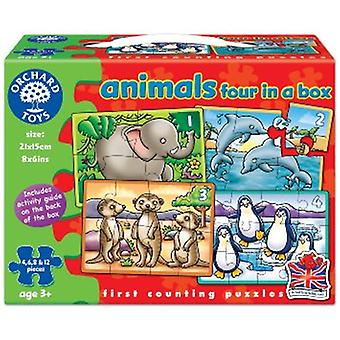 Orchard Toys Animals Four In A Box Jigsaw Puzzles