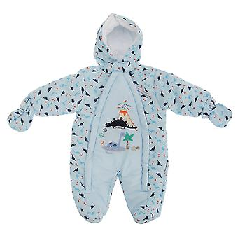 Baby Boys Dinosaur Volcano All In One Hooded Winter Snowsuit