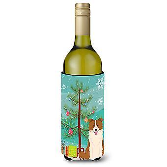 Merry Christmas Tree Bordercollie punainen valkoinen viinipullo Beverge eriste Hugge