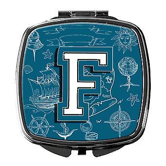 Lettre F mer Doodles Alphabet Initial miroir Compact