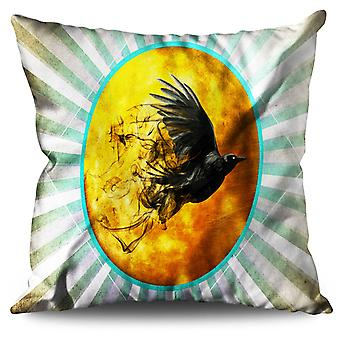 Raven Cosmos Moon Space Linen Cushion 30cm x 30cm | Wellcoda