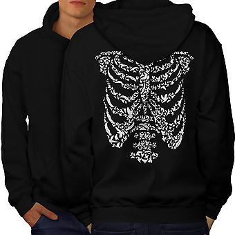 Art Skeleton Bones Skull Men BlackHoodie Back | Wellcoda