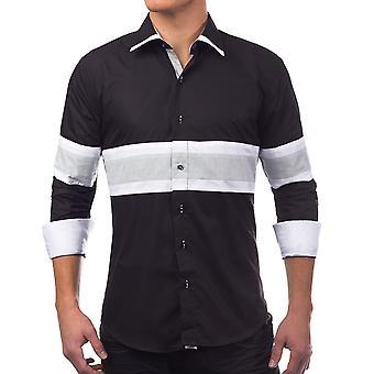Herren Hemd langarm Poloshirt SlimFit Freizeithemd Casual schwarz weiß