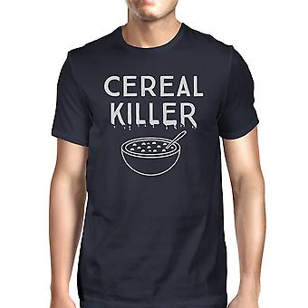 Cereal Killer T-Shirt Mens Navy Funny Graphic Halloween Tee Shirt