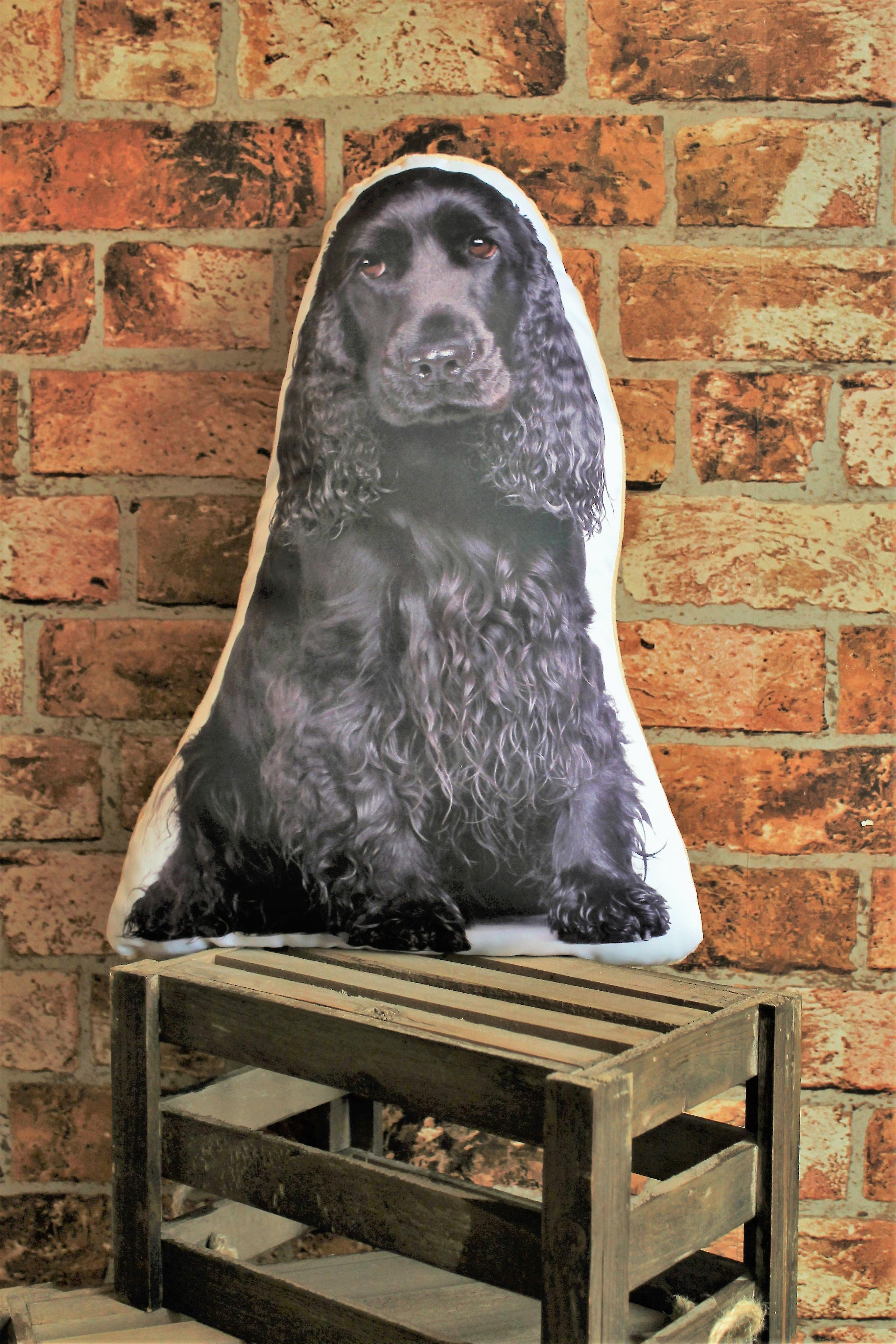 Adorable black cocker spaniel shaped cushion