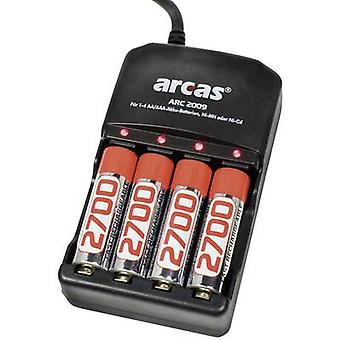 Arcas ARC-2009 NiCd, NiMH AAA , AA Ladegerät für zylindrische Zellen inkl. Wiederaufladbares