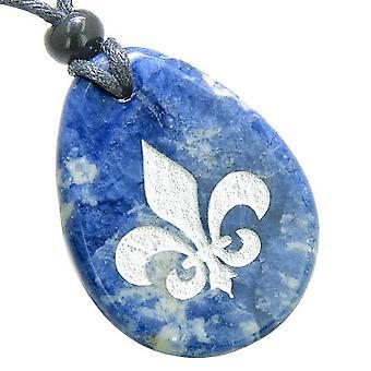 Fleur De Lis Triple ProtectiGoddess Good Luck Amulet Sodalite Totem Gem Stone Necklace Pendant