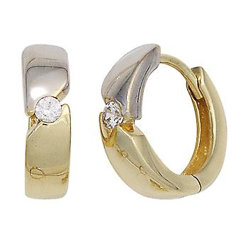 Hoops around two-tone 333 gold yellow gold part rhodium plated 2 cubic zirconia earrings folding mechanism