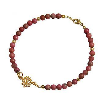 Damen - Armband - 925 Silber - Vergoldet - Lotus Blume - Edelstein - Rosa - YOGA